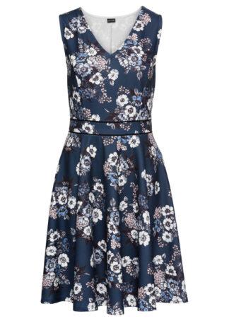 Sukienka dzianinowa bonprix ciemnoniebieski w kwiaty