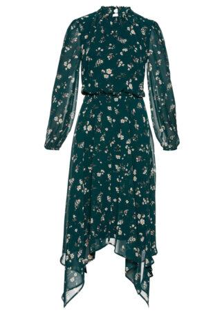Sukienka szyfonowa z nieregularną linią dołu bonprix ciemnozielony w kwiaty