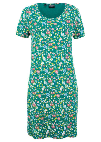 Sukienka shirtowa w kwiaty bonprix dymny szmaragdowy w kwiaty