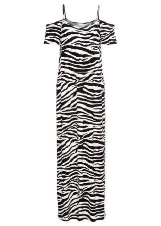 Długa sukienka letnia z dżerseju z wycięciami bonprix Zebra