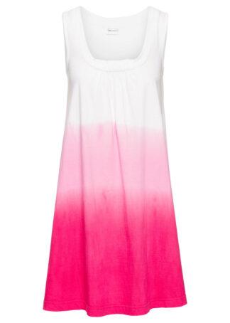 Sukienka plażowa bonprix biało-różowy