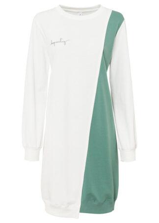Sukienka dresowa bonprix biel wełny - zielony szałwiowy