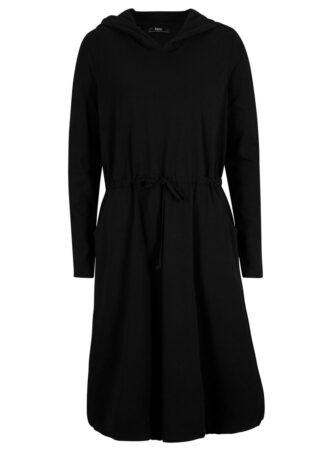 Sukienka shirtowa z kapturem i wiązanym troczkiem