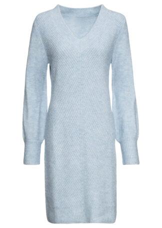 Sukienka dzianinowa bonprix pudrowy niebieski melanż