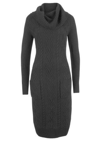 Sukienka dzianinowa z kieszeniami bonprix czarny