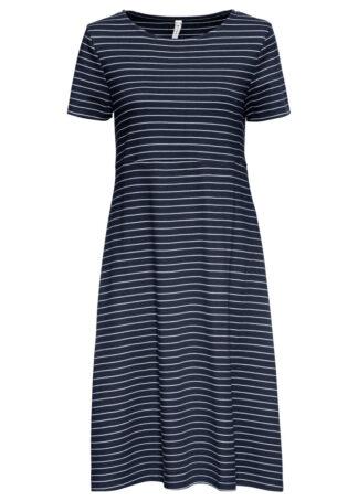 Sukienka shirtowa z krótkim rękawem bonprix ciemnoniebiesko-biały w paski