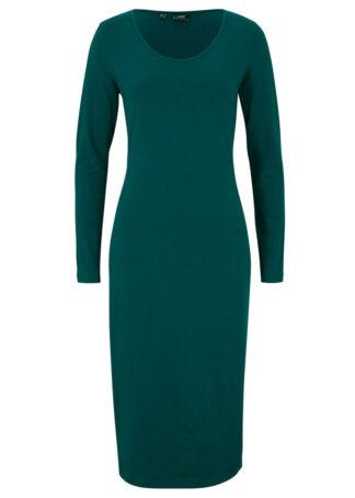 Sukienka midi z dżerseju ze stretchem bonprix głęboki zielony