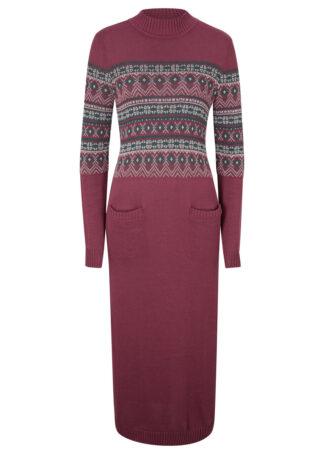 Sukienka dzianinowa maxi bonprix czerwony klonowy w norweski wzór