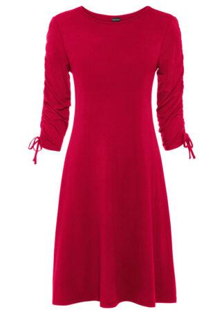 Sukienka z dżerseju z rękawami z marszczeniem bonprix truskawkowy