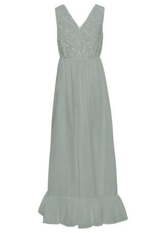 Długa sukienka z koronką i cekinami bonprix miętowy