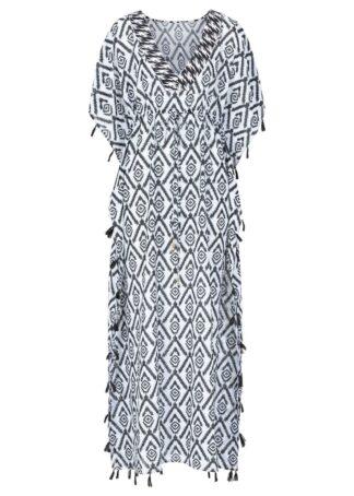 Długa sukienka plażowa bonprix czarno-biały z nadrukiem