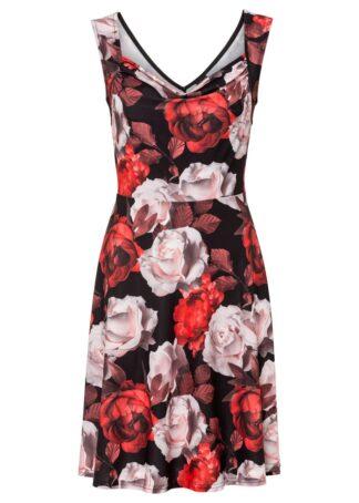 Sukienka z nadrukiem bonprix czarno-czerwony w kwiaty