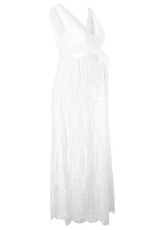 Sukienka ciążowa ślubna bonprix biel wełny