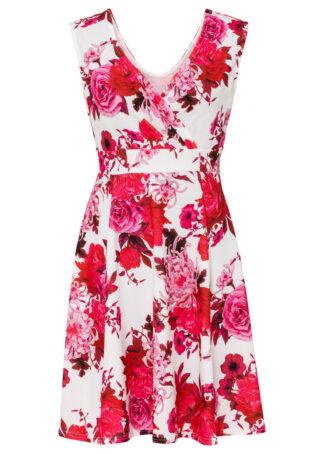Sukienka z nadrukiem bonprix biel wełny - czerwony w kwiaty
