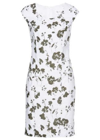 Lniana sukienka ołówkowa bonprix ciemnooliwkowo-biały z nadrukiem