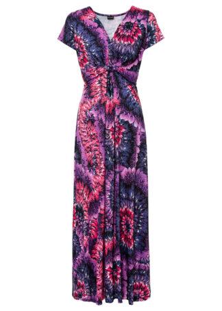 Długa sukienka z dżerseju z nadrukiem bonprix lila-różowy wzorzysty