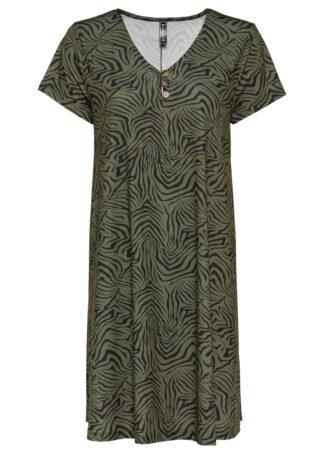 Sukienka bonprix zielono-czarny w paski zebry