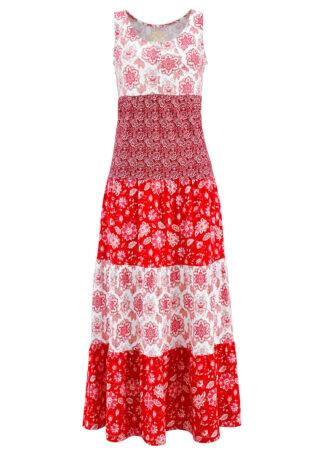 Długa sukienka bawełniana z dżerseju bonprix truskawkowy z nadrukiem