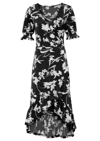 Sukienka midi z nadrukiem bonprix czarny w kwiaty