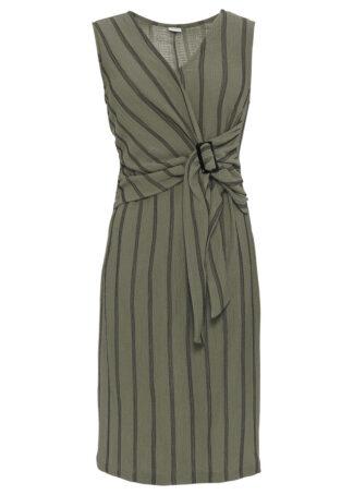 Sukienka z dżerseju bonprix oliwkowy w paski