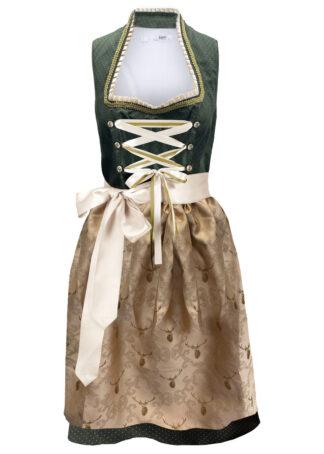 Sukienka ludowa ze stójką bonprix ciemny khaki w kropki