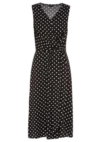 Sukienka z nadrukiem bonprix czarno-biały w kropki