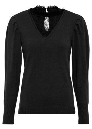 Sweter z koronkową wstawką bonprix czarny