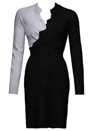 Sukienka dzianinowa bonprix czarno-szary