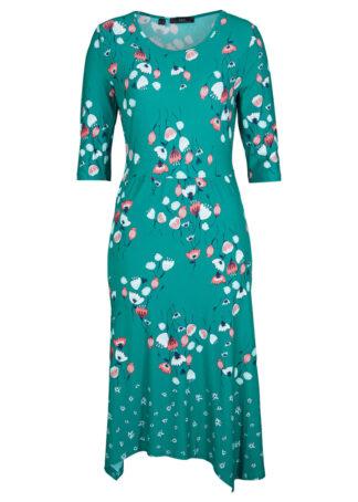 Sukienka z dżerseju bonprix zielony sosnowy w kwiaty