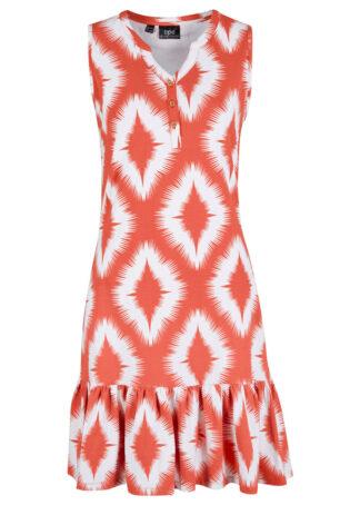 Sukienka z dżerseju bonprix czerwony cynamonowy z nadrukiem