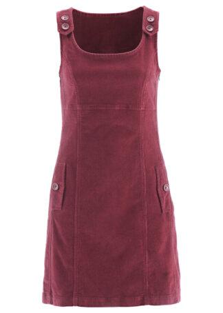 Sukienka sztruksowa ze stretchem na ramiączkach bonprix bordowy