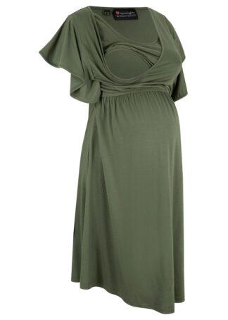 Sukienka ciążowa i do karmienia LENZING™ ECOVERO™ bonprix ciemny khaki