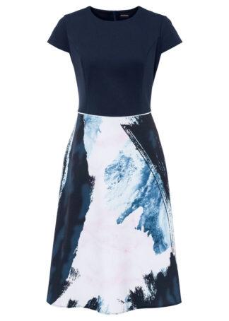 Sukienka z fantazyjnym nadrukiem bonprix ciemnoniebieski z nadrukiem