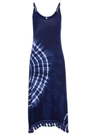 Sukienka shirtowa batikowa bonprix kobaltowo-biały batikowy