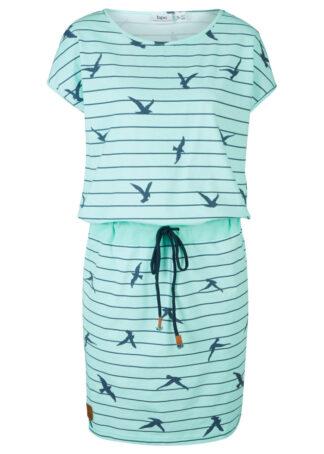 Sukienka z rękawami motylkowymi bonprix pastelowy miętowy - indygo z nadrukiem