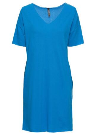 Sukienka shirtowa pique bonprix niebieski morski