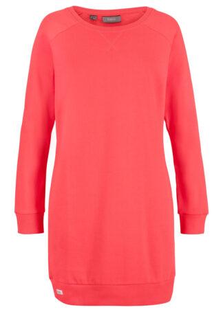 Sukienka dresowa z rękawami reglanowymi bonprix koralowy