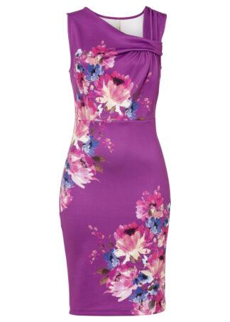 Sukienka ołówkowa bonprix lila w kwiaty