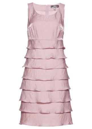 Sukienka z tafty z falbanami bonprix matowy jasnoróżowy