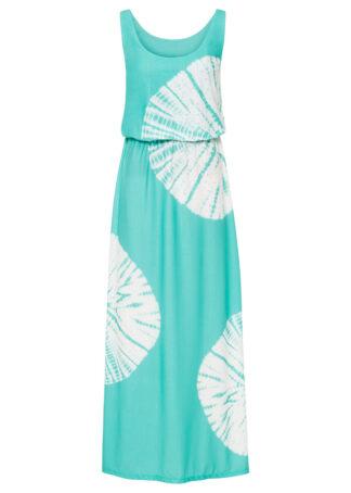 Długa sukienka z batikowym nadrukiem i ozdobnymi kamieniami bonprix miętowo-biel wełny wzorzysty