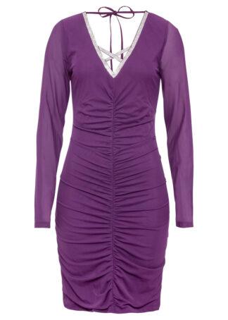 Sukienka z połyskującą aplikacją bonprix głęboki fioletowy