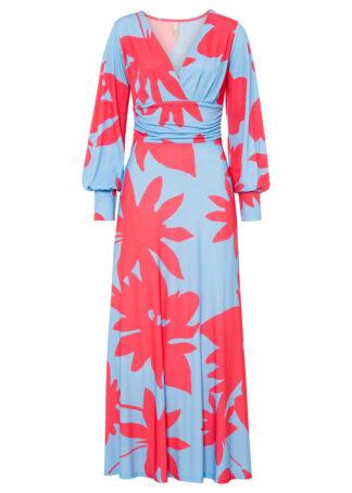Długa sukienka bonprix jasnoniebiesko-różowy w kwiaty