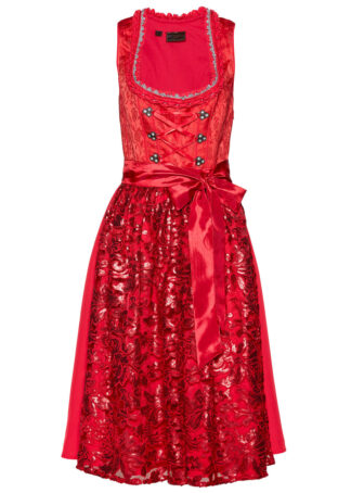 Sukienka ludowa z fartuchem z cekinami bonprix czerwony wzorzysty