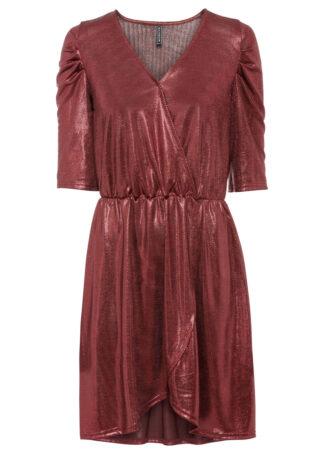 Sukienka z brokatowym połyskiem i założeniem kopertowym bonprix czerwony kasztanowy metaliczny