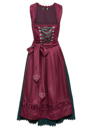 Sukienka ludowa z haftowanym fartuchem z satyny bonprix magenta - wzorzysty