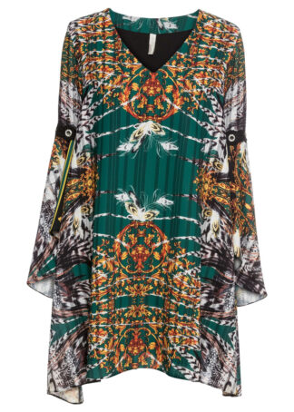 Sukienka szyfonowa bonprix ciemnozielony z nadrukiem