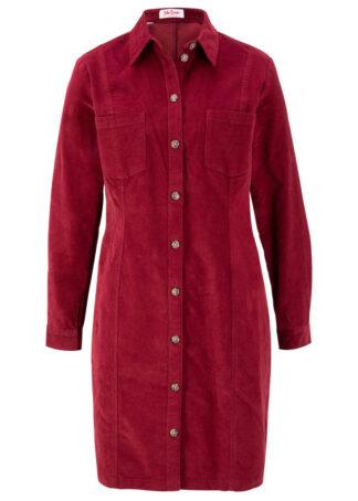 Sukienka sztruksowa ze stretchem bonprix czerwony kasztanowy