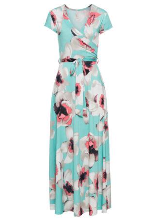 Sukienka z założeniem kopertowym bonprix miętowy w kwiaty