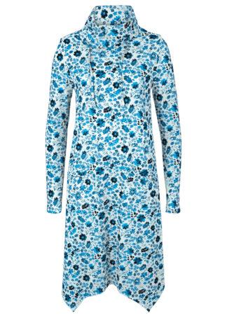 Sukienka shirtowa z golfem i kieszeniami Loose Fit bonprix mglisty niebieski - w kwiaty