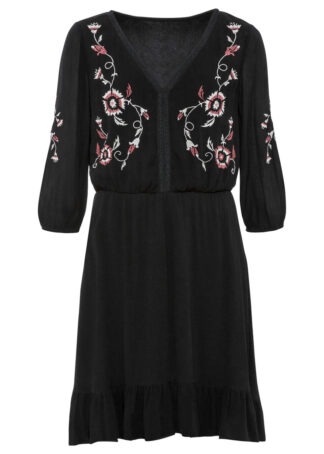 Sukienka tunikowa z haftem bonprix czarny